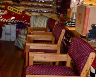 upholstered oak bar chairs with cup holders