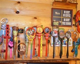 Great selection of barware - Magic Hat beer tap collection, shot glasses, signs, beer glasses.  Many will be sold in lots.