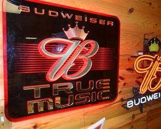 """Budweiser lighted """"True Music"""" beer sign"""