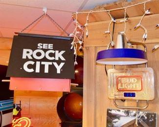 See Rock City bird house, Bud Light wall clock & light