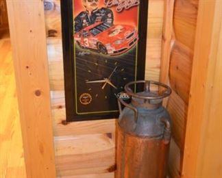 Dale Earnhardt wall plaque & clock; vintage copper & brass fire extinguisher