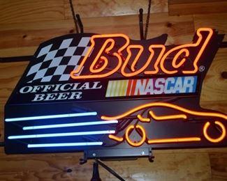 Bud Nascar neon sign
