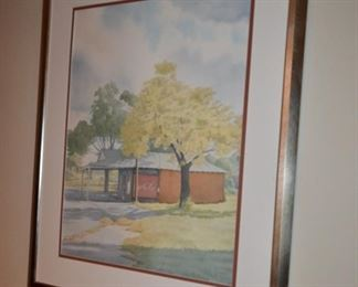 country store watercolor signed Paul Newman