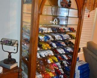 die cast trucks; beautiful lighted display cabinet