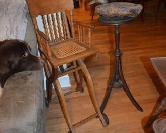 oak child's chair; antique candle stand, duck decoy