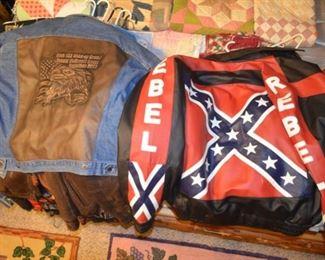 jean & leather jacket; confederate rebel flag jacket