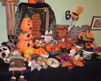 big selection of Halloween decorations