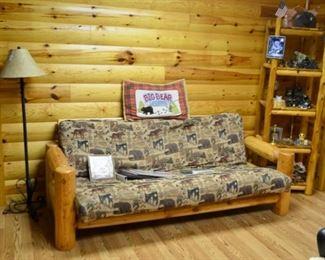 log furniture - futon, shelf & chair
