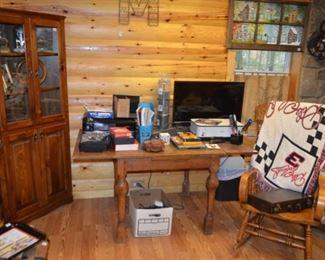 corner cupboard, oak pub table, rocker