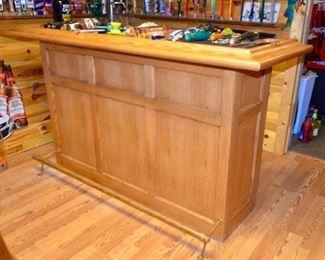 Oak bar with copper & brass foot rail