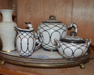 rare Lenox silver over-lay Art Nouveau teapot, cream & sugar