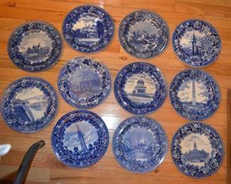 antique Wedgwood flow-blue historical plates