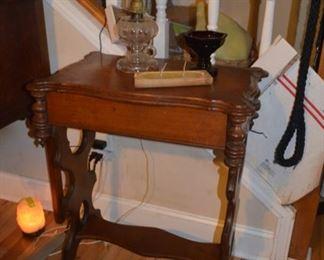 Eastlake table; hurricane lamp with ruffled glass shade