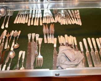collection of silver pearlware flatware