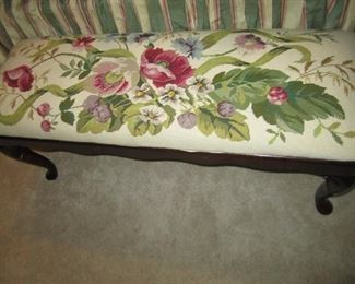 HAND MADE NEEDLEPOINT BENCH