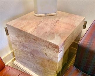 """$295 - Modernist stone table on base; top 24"""" x 24"""" on 27"""" x 27"""" base. MUST HIRE OUR PROFESSIONAL MOVER TO MOVE!!!"""