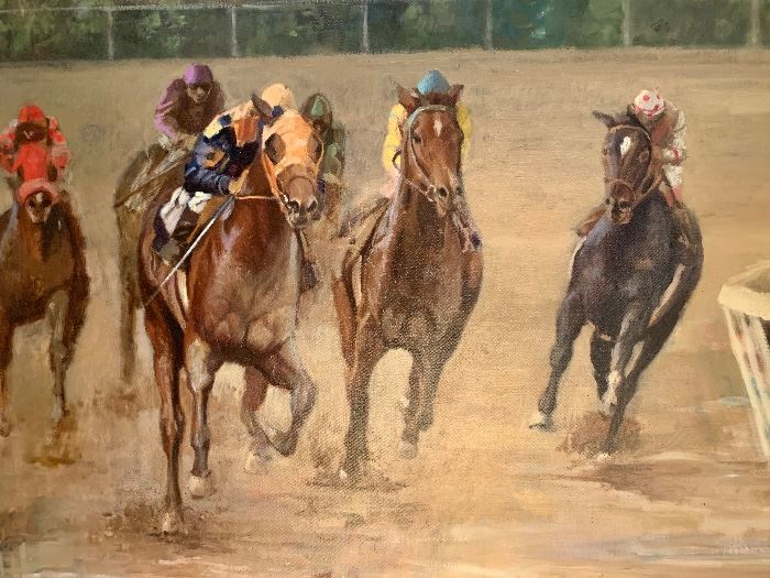 """SOLD SOLD SOLD!!! $1995;  Original painting By Marin Dobson """"Early Lead""""   Framed 28 x 32."""