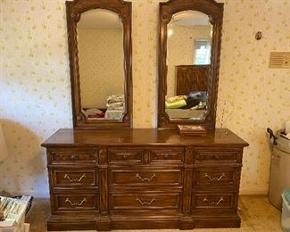 Drexel dresser and double mirrors