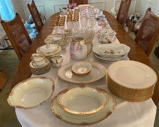 Noritake Rubigold serving pieces, Noritake Linton plates, berry bowls and platter