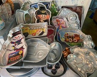 Tons of cake pans-Disney, seasonal, Pikachu, dinosaur, rabbits, hearts....