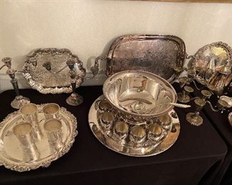 silver plate trays, punchbowl and cups, julep cups
