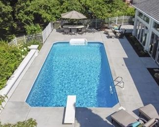 Beautiful Pool at our Estate Sale Home.  Patio Furniture is all for sale. Preempting questions: The swimming pool is NOT for sale, LOL!