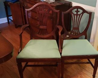 Duncan Phyfe dining chairs, 2 arm 4 side