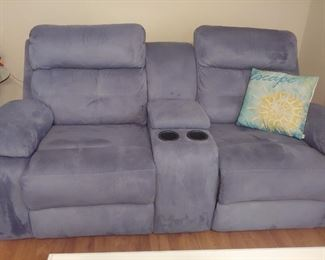 Micro-fiber Dusty Blue Love Seat with Recliners & Cup Holders