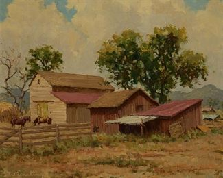 """1002 William S. Darling 1882-1963, Laguna Beach, CA """"Farm Near Rancho Santa Fe,"""" 1940 Oil on canvas Signed lower left: W. Darling, titled and dated on the stretcher 20"""" H x 24"""" W Estimate: $700 - $900"""