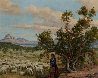 """1004 William S Darling 1882-1963, Laguna Beach, CA """"Navajo Country"""" Oil on canvas laid to board Signed lower left: W. Darling, signed again and titled on a partial artist's label affixed verso 20"""" H x 24"""" W Estimate: $700 - $900"""