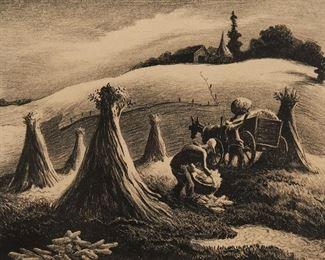 "1001 Thomas Hart Benton 1889-1975, American ""Loading Corn,"" 1945 Lithograph on paper under Plexiglas, Associated American Artists, New York, pub. Edition of 250, signed in pencil lower right: Benton 11"" H x 14.75"" W Estimate: $1,500 - $2,500"