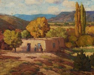 """1006 Attributed To Gustave Cimotti, Jr. 1875-1969, New York, NY Adobe House With Figures Oil on canvasboard Unsigned 12"""" H x 16"""" W Estimate: $500 - $700"""