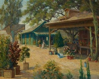 """1003 A Day At The Nursery 20th Century American School Oil on canvas Appears unsigned 25"""" H x 30"""" W Estimate: $500 - $700"""