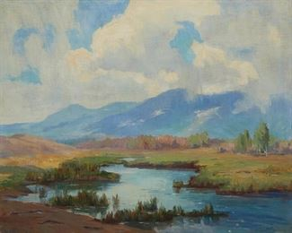 """1007 Lillias Waddell 1888-1947, California """"A Storm Over The Inyos"""" Oil on canvas Signed lower left: Lillias Waddell, signed again verso, titled on a partial gallery label affixed to the frame verso 24"""" H x 30"""" W Estimate: $300 - $500"""