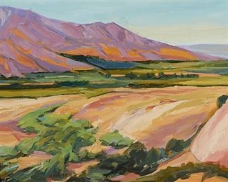 """1008 Raymond Cuevas b. 1932, Los Angeles, CA """"Santa Clara Riverbed, Santa Paula"""" Oil on canvasboard Signed lower left: Ray Cuevas, signed again and titled on a gum label affixed verso 12"""" H x 16"""" W Estimate: $400 - $600"""