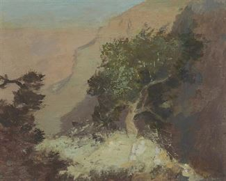 """1009 DeWitt Parshall NA 1864-1956, Santa Barbara, CA """"Cedar Tree, GD. Canyon"""" Oil on board Unsigned, titled and inscribed verso: """"This painting, unsigned, was to my certain knowledge, executed by my father DeWitt Parshall n.a., Douglass Parshall a.n."""" 10.75"""" H x 13"""" W Estimate: $1,000 - $1,500"""