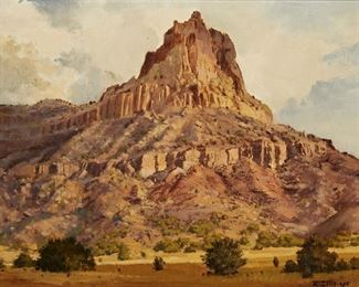"""1010 Rolf Zillmer b. 1932, Calfornian """"Hawks Rest"""" Desert Mountain Landscape Oil on masonite Signed lower right: R. Zillmer, titled on a gum label affixed verso 12"""" H x 16"""" W Estimate: $500 - $700"""