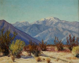 """1012 Rose Schneider 1895-1976, San Diego, CA Snow Capped Mountains In A Desert Landscape Oil on canvasboard Signed lower right: Rose Schneider 20"""" H x 24' W Estimate: $1,000 - $1,500"""