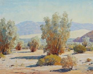"""1011 Paul Grimm 1891-1974, Palm Springs, CA """"Smoke Trees"""" Oil on board Signed lower right: Paul Grimm, titled on a card affixed to the backing board 12"""" H x 16"""" W Estimate: $700 - $900"""