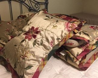Beautiful Queen Bed Linens. Quilt, Bed Skirt, Two Pillow Shams.  There are also matching window treatments for sale.