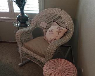 Vintage wicker rocking chair, pink wicker stool, cushions