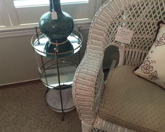 Vintage glass and metal accent table