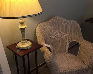 Vintage wicker side chair, cherry accent table, table lamp