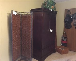 Three panel metal and screen, Armoire/Entertainment cabinet