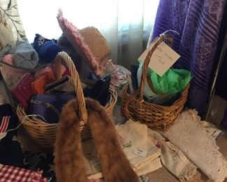 Purses, socks, vintage scarves, fur collar