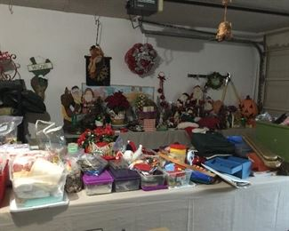 Looking into the Garage, full of seasonal, sewing, tools