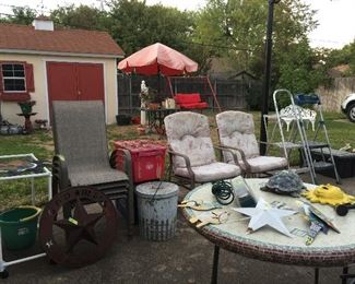 The Garden, chairs, tables, decorations, step ladders,