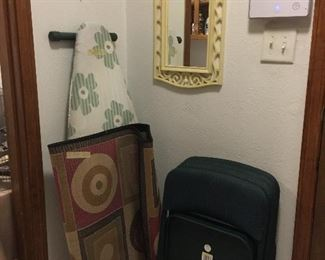 Rug, ironing board and 4 comfortable folding chairs, vintage mirror
