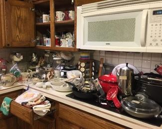 Great small appliances, lots of Pyrex, baking and very nice pans