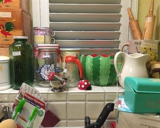 More kitchen containers, pitchers, rolling pins
